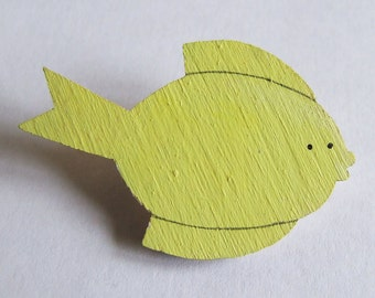 SALE Painted Lemon Fish Badge