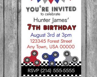 Fidget Spinner Birthday Party Invitation, Boy Spinner Party Invitation, Spinner Party Invitation, Printable Digital File
