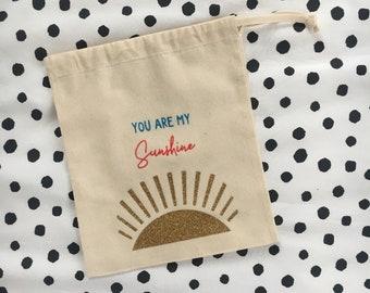 You are my Sunshine, Toy bag, Toy Sack, Gift bag, Cotton Canvas toy sack, natural cotton drawstring storage bag, kids stylish storage