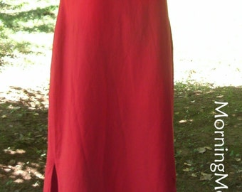 Red Maxi DRESS, EMBROIDERED hem, LINEN Blend, Sleeveless long sheath, Hippie summer Festival, Vintage 90s Boho, Deep True Bright Scarlet, 10
