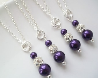 Set Of 4 Bridesmaid Necklaces,Bridesmaids Jewelry,Four Bridesmaid Pearl Necklaces,Rhinestones,Purple Bridesmaid Necklaces,Purple Bridesmaid