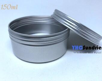 10pcs - 150ml Screw Lidded Blank Metal Tin Round Box *TB100ML*