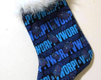Doctor Who Tardis Christmas Holiday Quilted Stocking