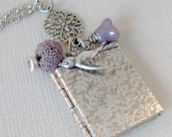 Solitude,Lava Bead,Oil Diffuser,Bird Necklace,Aromatherapy,Healing Jewelry,Purple,Lavender,Lava Rock,scented Jewelry,Essential Oil Diffuser