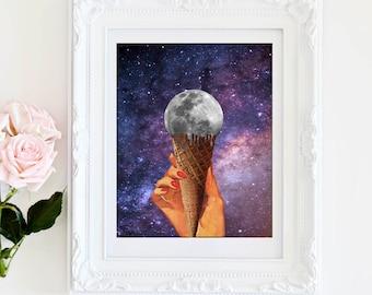Full moon poster, purple prints, purple poster, purple wall art, universe, space, galaxy, ice cream, summer print, summer decor