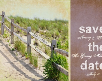 Seashore Fence Save the Date Printable Photo Card- Shabby Chic Beach Themed Wedding, Anniversary- Custom Names and Date Carved on Fence