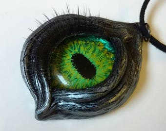 Dragon's eye pendant - polymer clay pendant - green eyed silver dragon - eyeball necklace - lucky charm - Gothic jewelry - wearable art