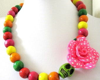 Day Of The Dead Necklace Sugar Skull Jewelry Rose Hot Pink Polka Dots Green Yellow Red Orange Pink