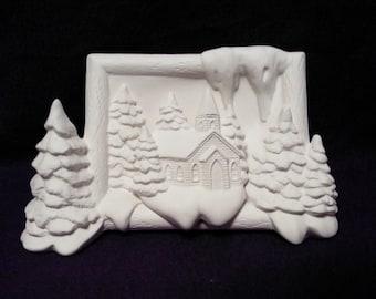 Winter church scene-ceramic bisque-you paint