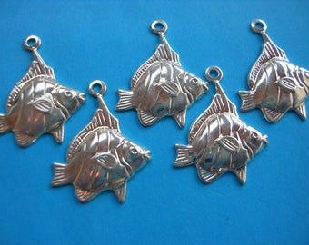 LOT 5 metal CHARMS: Fish 15mm