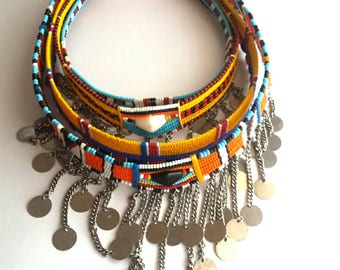 African necklace sets, Maasai beaded chokers, chokers with chains