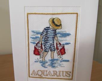 Cross Stitch Card - Aquarius