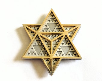 Double Layered Dual Plated Sacred Geometry Triangle Hat Pin