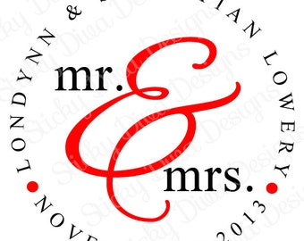 PERSONALIZED STICKERS - Custom Wedding Monogrammed Labels - Mr and Mrs Design -  Round Gloss Labels