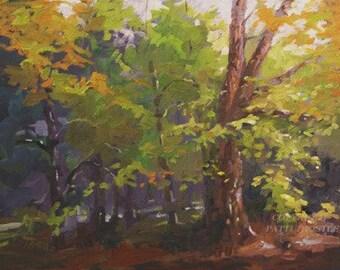 original oil painting landscape pictures landscape design  gift ideas fall decor art orange green leaves