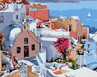 Mediterranean Vista PAINT BY NUMBERS Canvas Painting Kit 20 x 16 ins, Acrylic, Frameless, Seaside Landscape