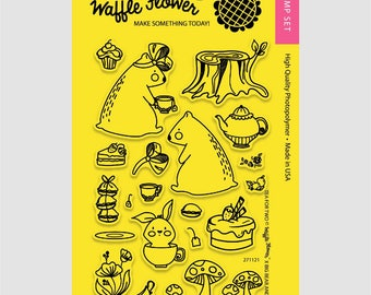 Waffle Flower TEA for TWO 4x6 - Set of 22 CLEAR Photopolymer stamps Bears Bunny Cake #271121