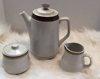 Brown Monterey Stoneware Made in Japan Coffee Pot Creamer Sugar