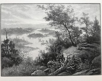 Old Lithograph of Stony Lake Ontario  by T L Smart