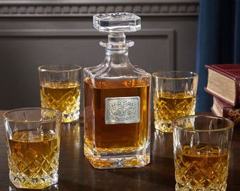 Royal Crest Personalized Liquor Decanter And Glasses Set  Great Gift For  Home Bar Decor Office