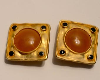 1980's Square stone and enamel clip on earrings
