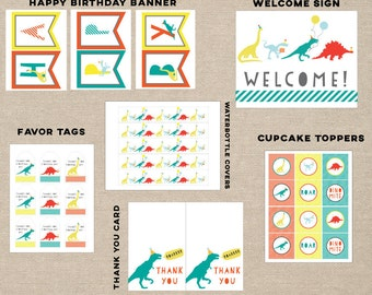 dinosaur party printable pack, dinosaur favor tags, dinosaur banner, dinosaur thank you card, dinosaur cupcake topper, dinosaur bottle cover
