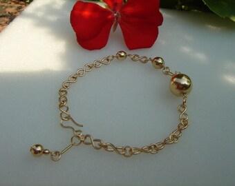 Gold Bracelet, elegant with bullets, in 585 gold filled