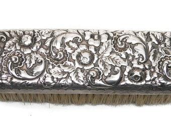 Antique Victorian Sterling Silver Art Nouveau Repousse Clothes Brush