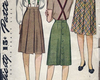 """Vintage 1943 Simplicity 4824 WWII Box Pleated Skirt Sewing Pattern Size Waist 24"""" Hip 33"""""""