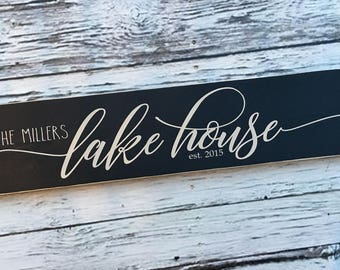 lake house | personalized lake house sign | painted sign | lake house decor | Wood Sign | home decor | lake sign | Style# HM221