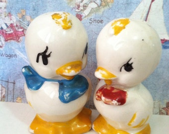 Vintage 1950s Duck Salt and Pepper Shakers Antique American Bisque Pottery Company Collectibles or Cake Toppers