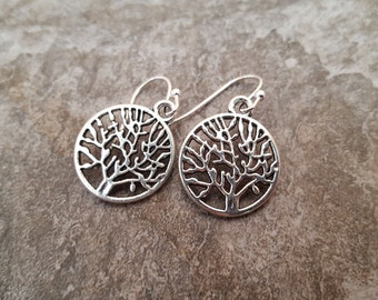 Silver Tree Earrings, Tree of Life Earrings, Antique Silver Earrings, Tree Jewelry, Gift for her, jingsbeadingworld inspired by nature
