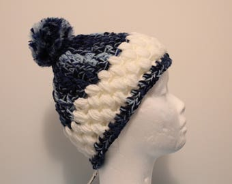 Crocheted Ombre Blue and White Winter Hat