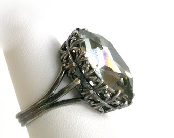 Black Diamond Engagement Ring Swarovski Crystal Ring Silver Solitaire Ring Gothic Ring Filigree Ring Gothic Jewelry