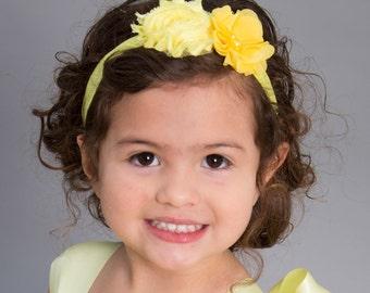 Yellow Headband- Newborn Headband- Baby Headband-Flower Headband - Infant Headband- Christening Headband- Wedding Accessory-Pageant Headband
