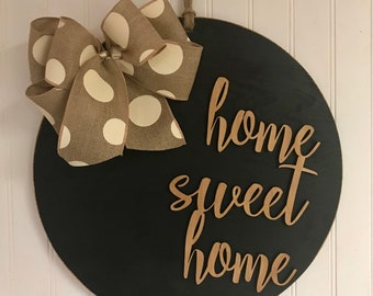 Home Sweet Home Circle Wood Door Hanger Wall Decor Housewarming Front Door Wreath Year Round Decor Farmhouse Shabby Chic Rustic
