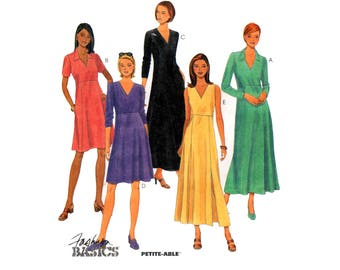 90s McCall's 9384 Sleeveless, Long or Short Sleeved Empire Waist Dress with V-Neckline, Uncut, Factory Folded, Sewing Pattern Size 8-12