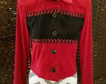 R & K Originals ladies button down blazer petites size 4P red and black holidays business casual office dinner cruise