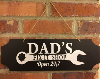Dad's Fix It Shop Sign | Chalkboard Sign | Father's Day Gift | Vinyl Sign