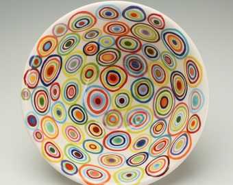Serving Bowl Circles, Stripes and Dots Hand Painted Colorful Fruit or Small Mix Bowl