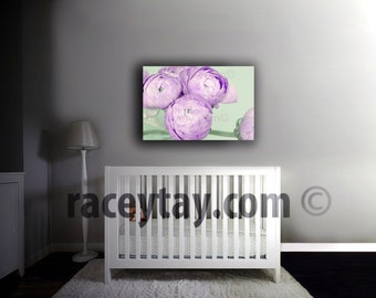 Pastel Girl Nursery Decor- Purple Flower Photography on Canvas- Mint Green Mauve Bedroom Wall Art Canvas