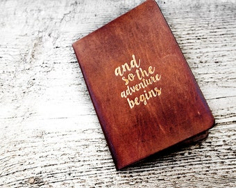 Personalized Leather Passport Cover Travel Wallet in Antiqued Brown, And So the Adventure Begins Passport Holder Travel Gift Genuine Leather