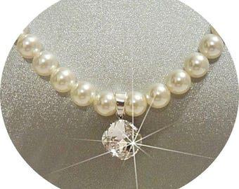 Bridal Necklace, Crystal Pendant Necklace, Anniversary Gift, Pearl Necklace, White Pearls, Ivory Pearls, Wedding Jewelry, Austrian Crystal