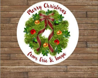 Personalized Christmas Stickers    Christmas Wreath Stickers       Christmas Wreath Favor Tags