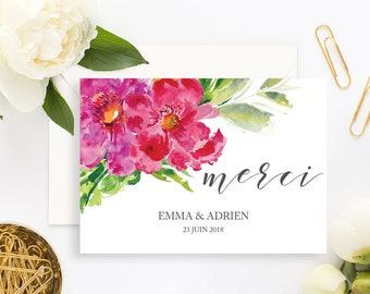 Floral Wedding Thank You Card with white envelope - Wedding Thank You Card - Flower Wedding Invitation - Flower Bohemian Greenery Watercolor