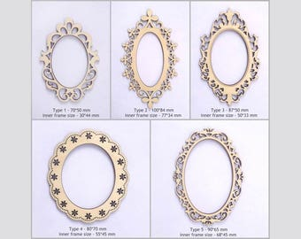 Oval Scrapbook frames for your Art / Laset cut frames / Photo frames / Laser cut wood / Scrapbook supplies / Scrapbook dies / Wood cutouts