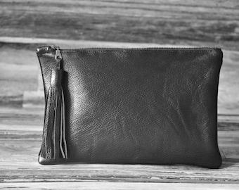 Clutch Black Genuine Leather Bag Tassel Clutch Zipper Pouch Handbag Purse Bag Handmade Hobo Bohemian Style Personalized Gift for Her Wedding