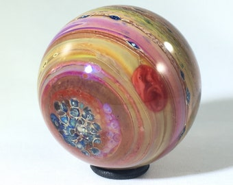 Planet marble, glass sphere, Art glass marble, uv glass marble, large marble, artist made marble, contemporary glass marble, handmade