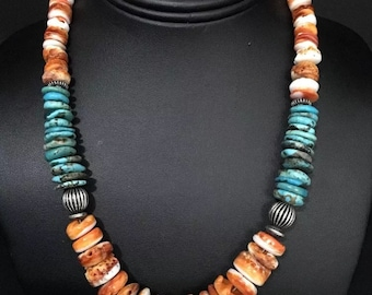 Native American Sterling Silver Spiney Turquoise Oyster Gradual Necklace