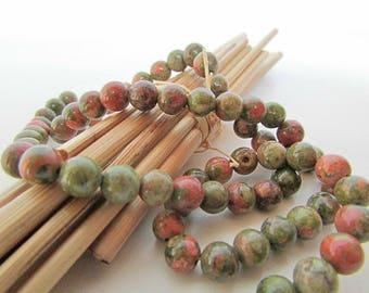 Bead unakite, pink green unakite stone gemstone 10 mm, 8 mm, 6 mm, 4 mm, 6 x 3 mm - 480